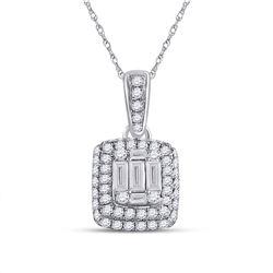 14kt White Gold Womens Baguette Diamond Cluster Pendant 5/8 Cttw