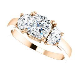 Natural 2.52 CTW Cushion Cut & Half Moons 3-Stone Diamond Ring 14KT Rose Gold