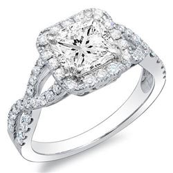 Natural 2.62 CTW Princess Cut Crisscross Diamond Engagement Ring 18KT White Gold