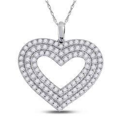 14kt White Gold Womens Round Diamond Heart Pendant 1 Cttw
