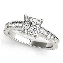 Natural 0.65 ctw Princess Diamond Antique Ring 14k White Gold