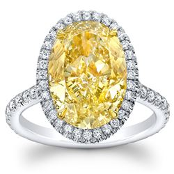 Natural 3.92 CTW Halo Canary yellow Oval Cut Diamond Ring 14KT Two-tone