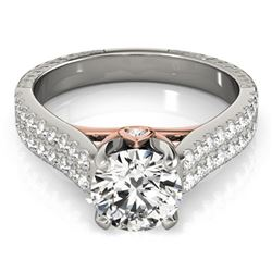 Natural 1.36 ctw Diamond Pave Ring 14k 2Tone Gold