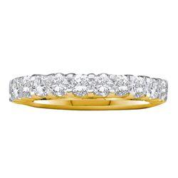 14kt Yellow Gold Womens Machine Set Round Diamond Wedding Band 1 Cttw