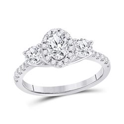 14kt White Gold Oval Diamond 3-stone Bridal Wedding Engagement Ring 1-1/5 Cttw