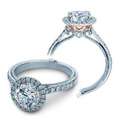 Natural 3.47 CTW Diamond Engagement Halo Ring 18KT Two Tone