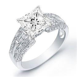 Natural 2.92 CTW Princess Cut & Baguette Accent Diamond Ring 18KT White Gold