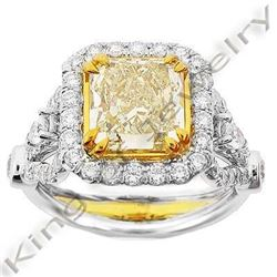 Natural 3.28 CTW Canary Yellow Radiant Cut Diamond Ring 14KT Two-tone