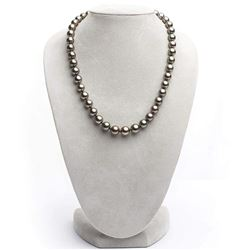 """Dark Cherry and Peacock True Round Tahitian Pearl Necklace, 18"""", 8.3-10.7mm,  AA+/AAA Quality"""