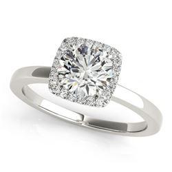 Natural 0.65 ctw Diamond Halo Ring 14k White Gold