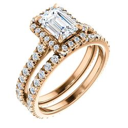 Natural 3.12 CTW Halo Emerald Cut Diamond Engagement Ring 18KT Rose Gold