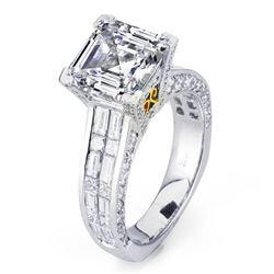Natural 4.32 CTW Celebrity Asscher Cut Diamond Engagement Ring 18KT Two Tone