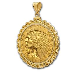 $5 Indian Gold Half Eagle Pendant (Rope-ScrewTop Bezel)