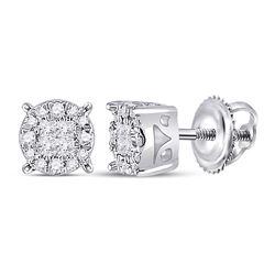 14kt White Gold Womens Princess Diamond Fashion Cluster Earrings 1/6 Cttw