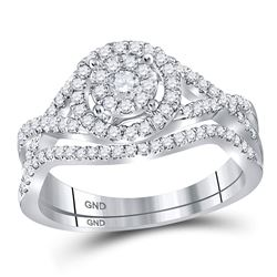 14kt White Gold Round Diamond Cluster Bridal Wedding Ring Band Set 1/2 Cttw