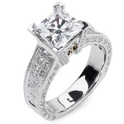 Natural 4.82 CTW Princess Cut Diamond Engagement Ring 14KT White Gold