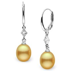 Drop-Shape Golden South Sea Pearl and Diamond Aerie Collection Dangle Earrings