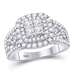 14kt White Gold Princess Diamond Cluster Bridal Wedding Engagement Ring 1-1/2 Cttw