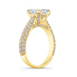 Natural 3.32 CTW Princess Cut Micro Pave Diamond Engagement Ring 14KT Yellow Gold
