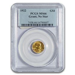 1922 Gold $1.00 Grant No Star MS-66 PCGS