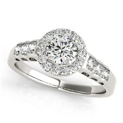 Natural 1.3 ctw Diamond Solitaire Halo Ring 14k White Gold