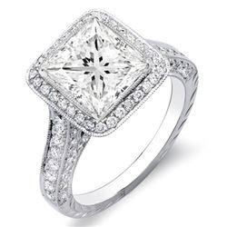 Natural 3.12 CTW Princess Cut Halo Diamond Engagement Ring 18KT White Gold