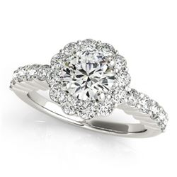 Natural 1.75 ctw Diamond Halo Ring 14k White Gold