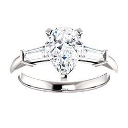 Natural 1.82 CTW Pear Cut & Baguette Cut 3-Stone Diamond Ring 18KT White Gold