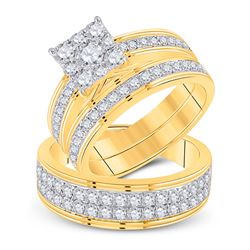14kt Yellow Gold His Hers Round Diamond Cluster Matching Wedding Set 2-1/5 Cttw