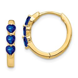 14k Yellow Gold w/ Created Sapphire Hoop Earrings - 51 mm