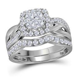 14kt White Gold Round Diamond Cluster Bridal Wedding Ring Band Set 1 Cttw
