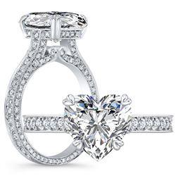 Natural 3.12 CTW Heart Shape Diamond Engagement Ring 14KT White Gold