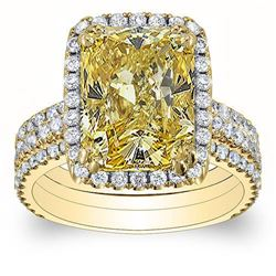 Natural 4.37 CTW Canary Yellow Radiant Cut Diamond Engagement Ring 18KT Yellow Gold