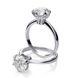 Natural 3.12 CTW Round Cut Diamond Crown Solitaire Ring 14KT White Gold