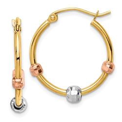 14k Yellow Gold Tri-color Beads Hoop Earrings - 20 mm
