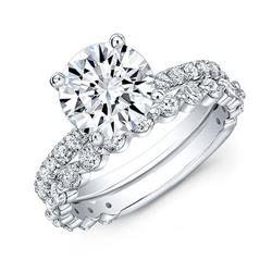 Natural 4.22 CTW Round Cut Diamond Ring 14KT White Gold