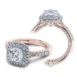 Natural 3.02 CTW Diamond Engagement Halo Ring 18KT Rose Gold