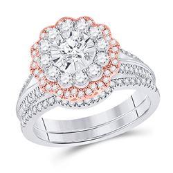 14kt Two-tone Gold Round Diamond Bridal Wedding Ring Band Set 1-1/5 Cttw