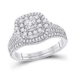 14kt White Gold Princess Diamond Bridal Wedding Ring Band Set 1 Cttw