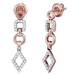 14kt Rose Gold Womens Round Diamond Geometric Dangle Earrings 1/3 Cttw