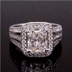 Natural 3.92 CTW Halo Radiant Cut Diamond Engagement Ring 18KT White Gold