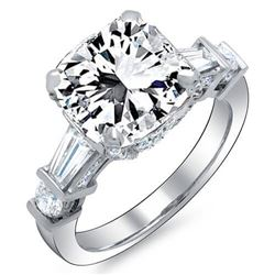 Natural 3.82 CTW Radiant Cut, Baguette & Round Channel & Pave Diamond Engagement Ring 14KT White Gol