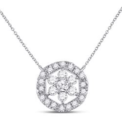 14kt White Gold Womens Round Diamond Floral Cluster Necklace 1/3 Cttw