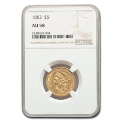 1853 $5 Liberty Gold Half Eagle AU-58 NGC