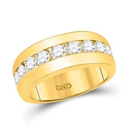 14kt Yellow Gold Mens Round Diamond Single Row Channel-set Band Ring 2 Cttw