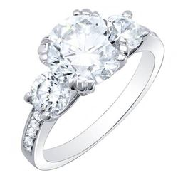 Natural 3.03 CTW Round Cut Diamond w/ Accents Engagement Ring 18KT White Gold