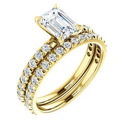 Natural 2.82 CTW Pave Emerald Cut Diamond Engagement Ring 14KT Yellow Gold