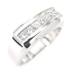 Natural 1.82 CTW Men's Princess Cut Channel Set Diamond Ring 14KT White Gold