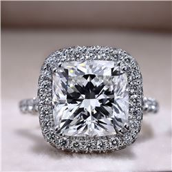 Natural 3.57 CTW Cushion Cut Diamond Halo Pave Engagement Ring 18KT White Gold