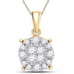 14kt Yellow Gold Womens Princess Round Diamond Cluster Pendant 1/4 Cttw